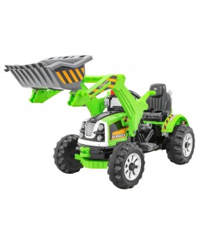 Elektrický traktor / bager s lyžicou zelený
